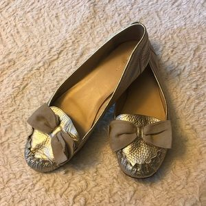 Kate spade gold leather metallic moccasin bow flat